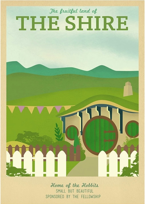 The Shire - Lord of the Rings Fake Travel Poster