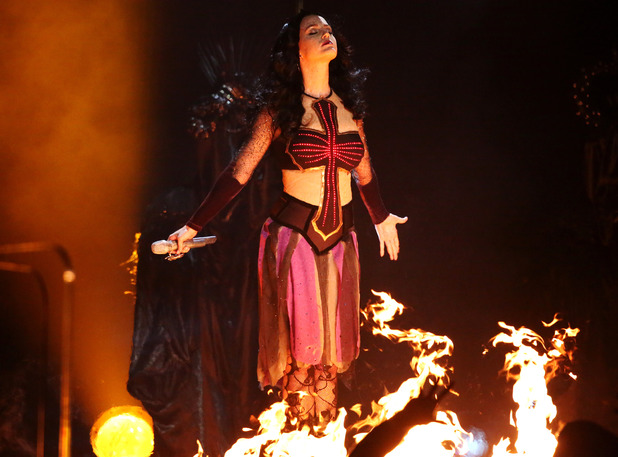 Katy Perry Burning at Stake at Grammys 2014
